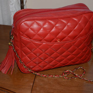 vintage red quilted leather tassel bag chain strap